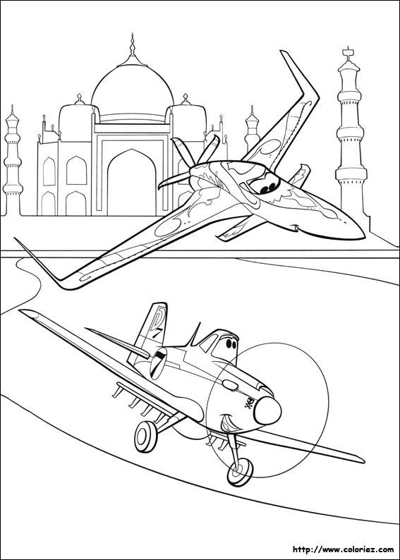 Coloriage et dessins gratuits Ishani et Dusty survolent le Taj Mahal à imprimer