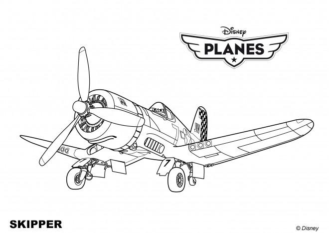 Coloriage et dessins gratuits Planes Skipper Pixar à imprimer