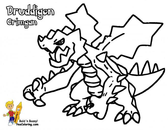 Coloriage et dessins gratuits Pokémon Druddigon Crimgan à imprimer