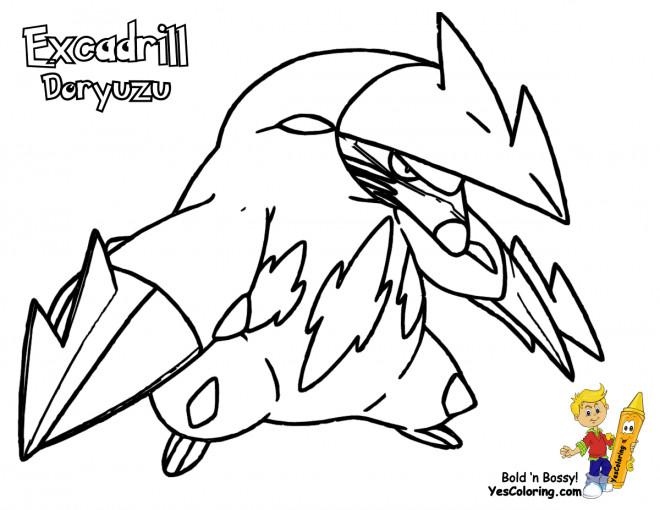 Coloriage et dessins gratuits Pokémon Excadrill Doryuzu à imprimer