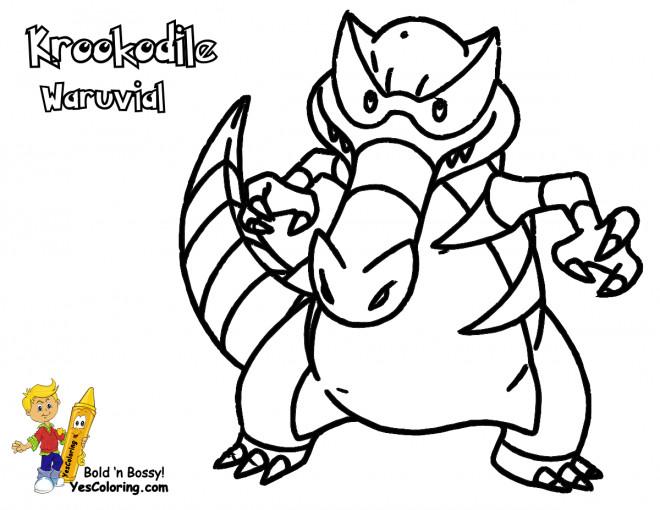 Coloriage et dessins gratuits Pokémon Krookodile Waruvial à imprimer
