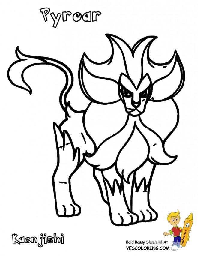 Coloriage et dessins gratuits Pokémon Pyroar stylisé à imprimer