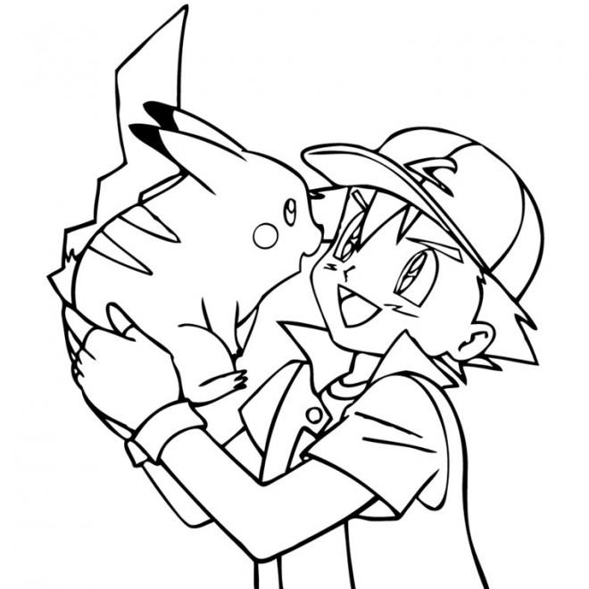 Coloriage et dessins gratuits Pokémon Sacha et Pikachu à imprimer