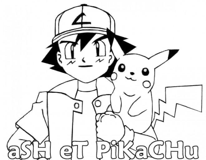 Coloriage et dessins gratuits Ash et  Pikachu à imprimer