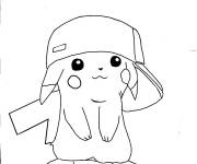 Coloriage Drôle de Pikachu Pokémon