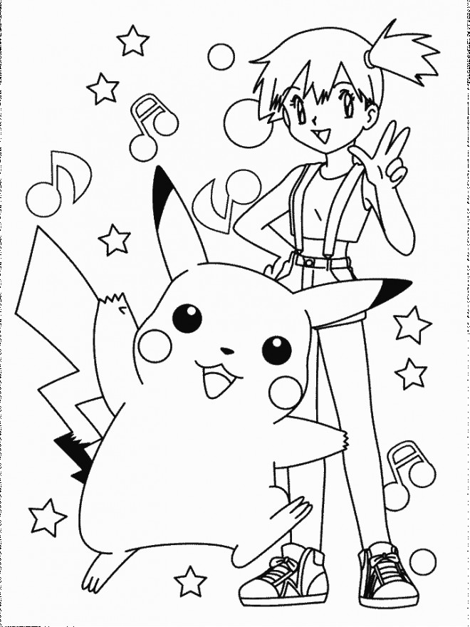 Coloriage et dessins gratuits Ondine Pikachu et La Musique à imprimer