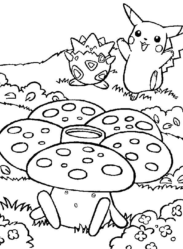 Coloriage et dessins gratuits Paysage de Pikachu à imprimer