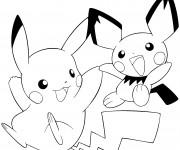 Coloriage Pichu et Pikachu maternelle