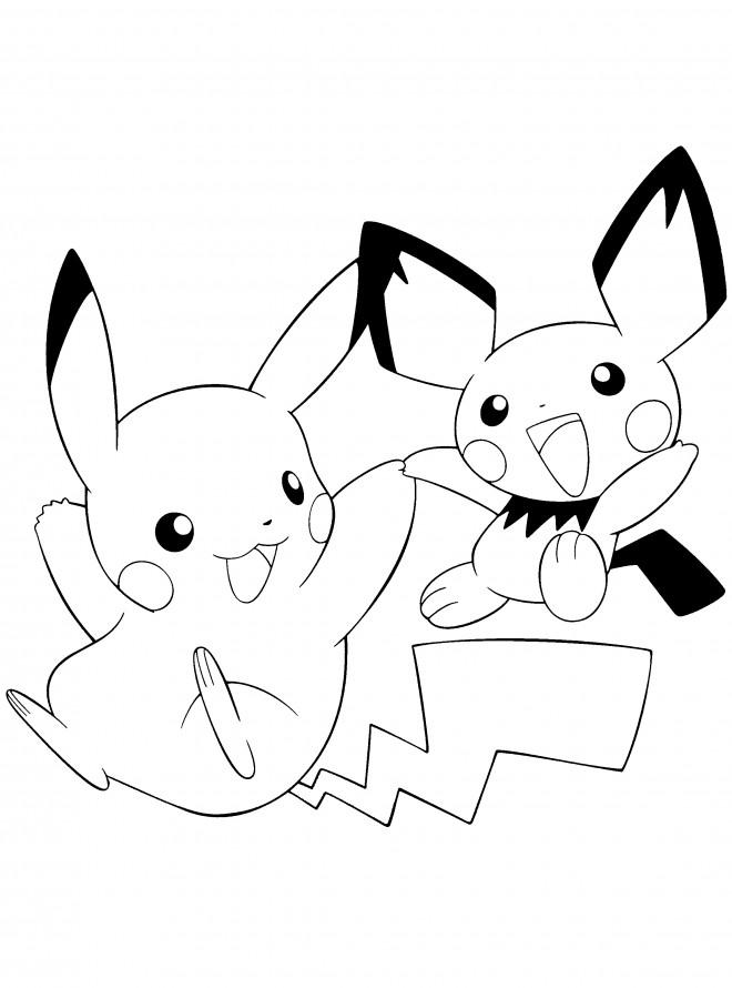 Coloriage Pichu Et Pikachu Maternelle Dessin Gratuit A Imprimer