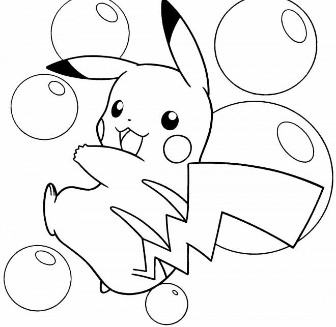 Coloriage et dessins gratuits Pikachu adorable à imprimer