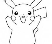 Coloriage et dessins gratuit Pikachu dessin animé à imprimer