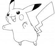 Coloriage Pikachu en bon humeur