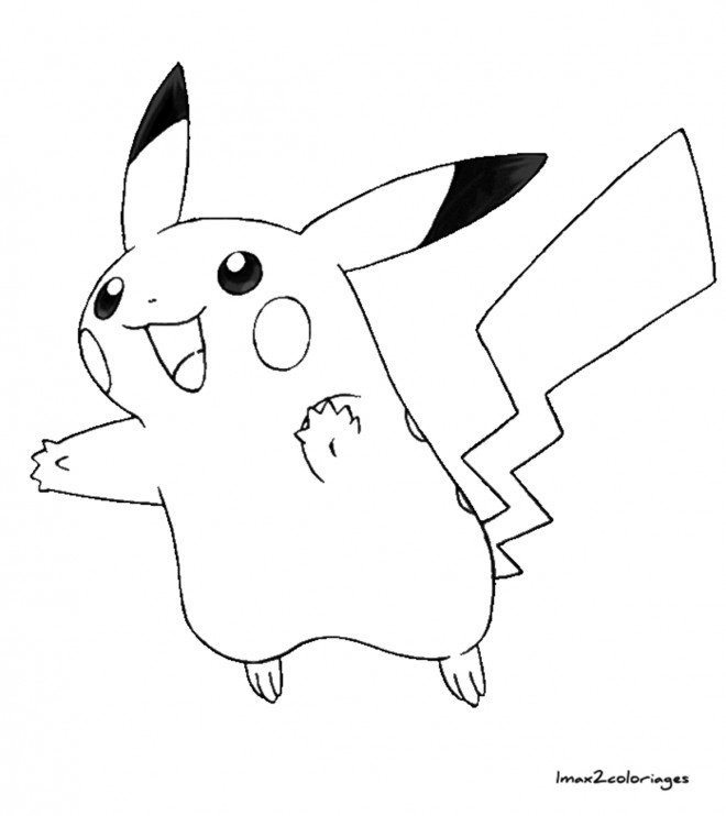 Coloriage et dessins gratuits Pikachu en bon humeur à imprimer
