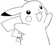 Coloriage et dessins gratuit Pikachu en couleur à imprimer