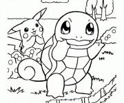 Coloriage Pikachu et Carapuce