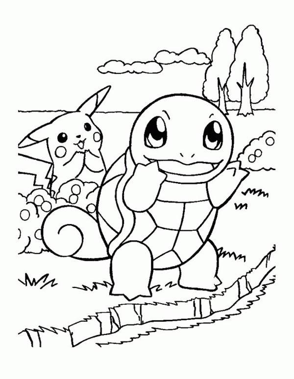 Coloriage et dessins gratuits Pikachu et Carapuce à imprimer