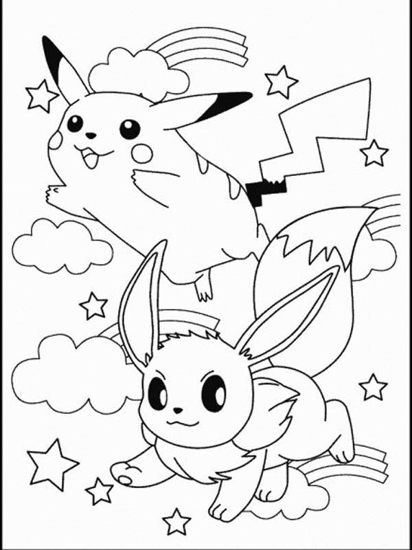 Coloriage et dessins gratuits Pikachu et Evoli à imprimer