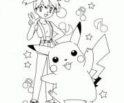 Coloriage Pikachu et Ondine