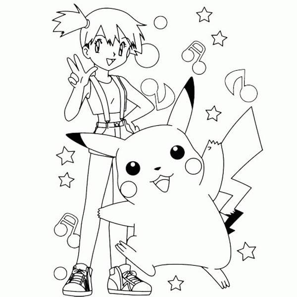 Coloriage et dessins gratuits Pikachu et Ondine à imprimer