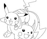 Coloriage pikachu et Raichu