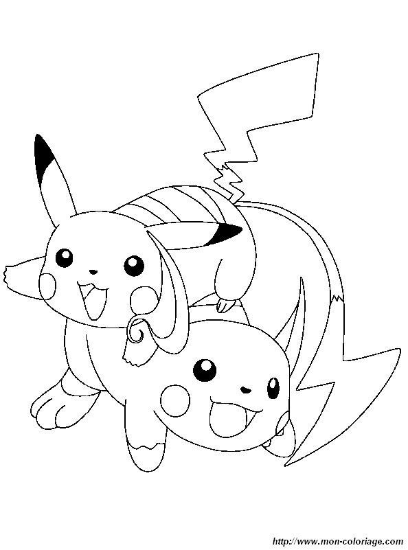 Coloriage et dessins gratuits pikachu et Raichu à imprimer
