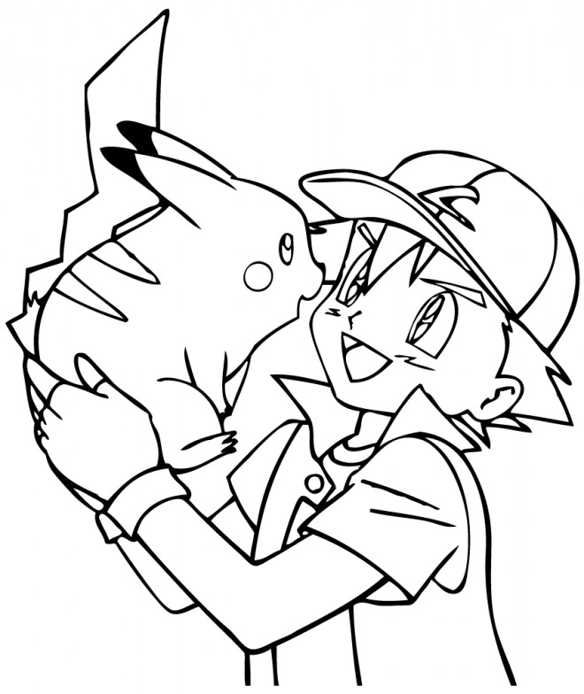 Coloriage et dessins gratuits Pikachu et Sacha à imprimer