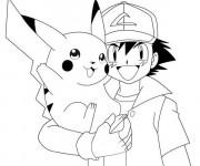 Coloriage et dessins gratuit Pikachu et Sacha à télécharger à imprimer