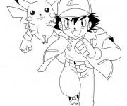 Coloriage et dessins gratuit Pikachu et Sacha maternelle à imprimer