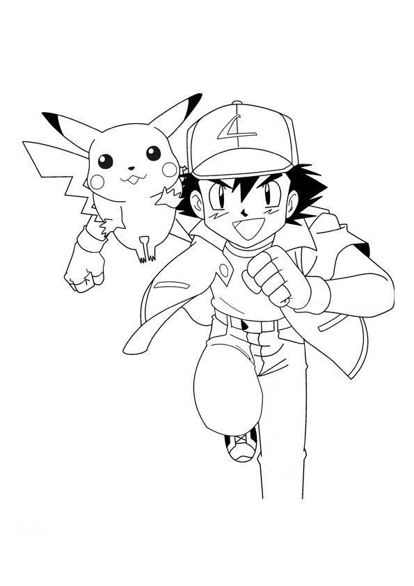 Coloriage Pikachu et Sacha maternelle dessin gratuit à ...