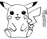 Coloriage Pikachu facile