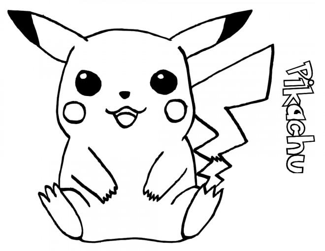Coloriage et dessins gratuits Pikachu facile à imprimer