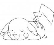 Coloriage et dessins gratuit Pikachu fatigué à imprimer