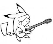 Coloriage et dessins gratuit Pikachu Guitariste à imprimer