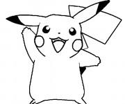 Coloriage et dessins gratuit Pikachu heureux à imprimer