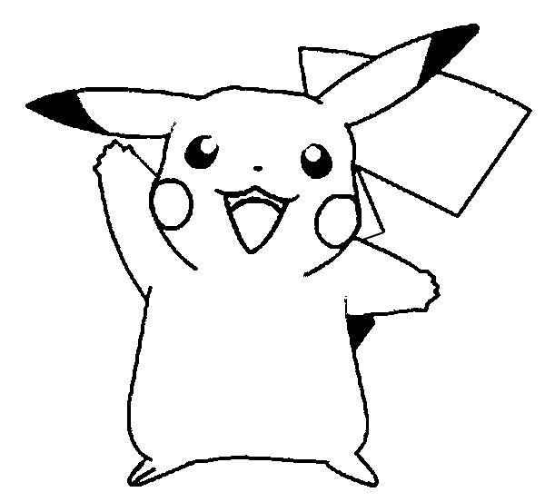 Coloriage et dessins gratuits Pikachu heureux à imprimer