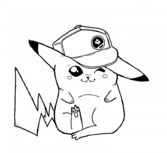 Coloriage et dessins gratuits Pikachu mignon en couleur à imprimer