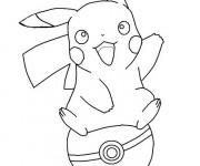 Coloriage Pikachu sur Balle de Pokémon