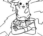 Coloriage Pikachu sur Sacha