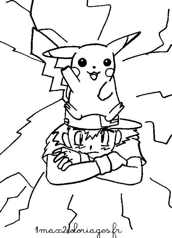 Coloriage et dessins gratuits Pikachu sur Sacha à imprimer