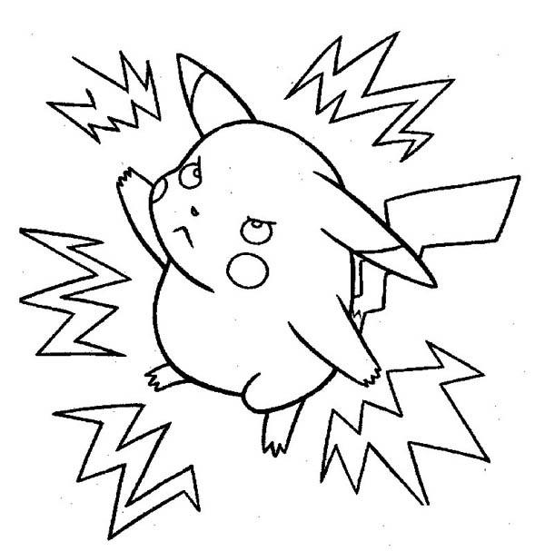 Coloriage et dessins gratuits Pokémon électrique Pikachu à imprimer
