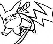 Coloriage Pokémon Pikachu combattant