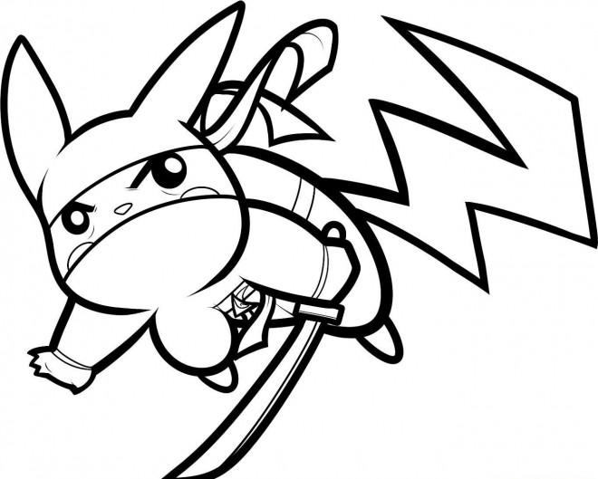 Coloriage et dessins gratuits Pokémon Pikachu combattant à imprimer