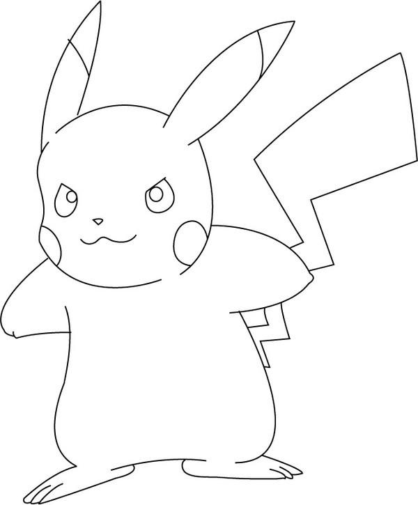 Coloriage et dessins gratuits Pokémon Pikachu en colère à imprimer