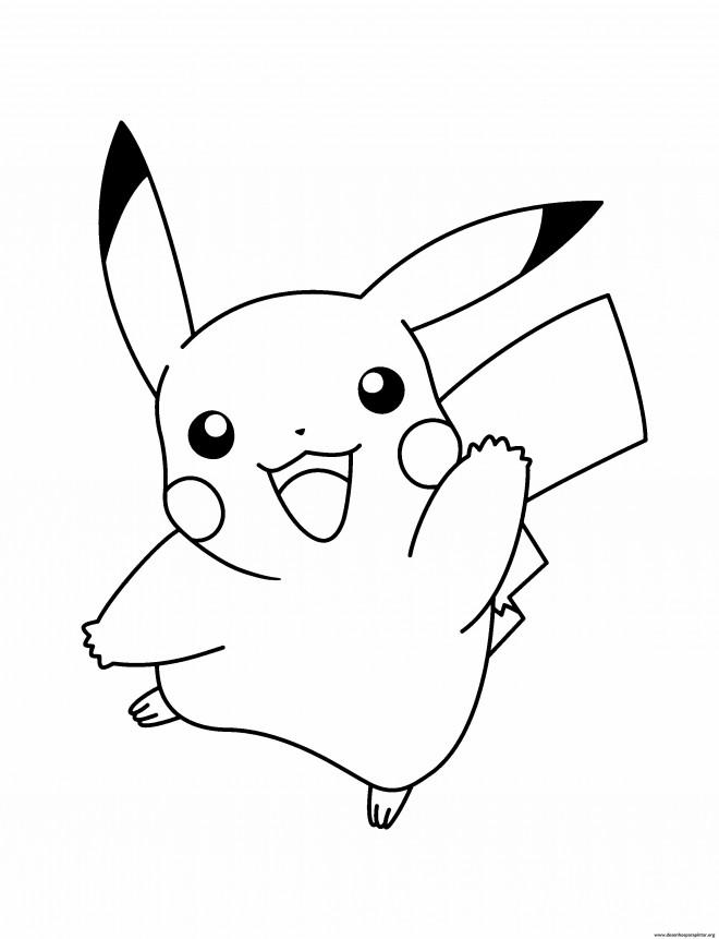 Coloriage et dessins gratuits Pokémon Pikachu en noir à imprimer