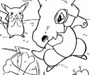 Coloriage Pokémon Pikachu et Cubone
