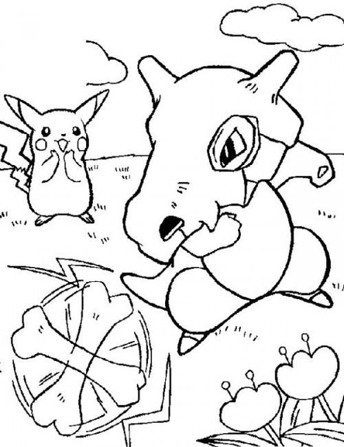 Coloriage et dessins gratuits Pokémon Pikachu et Cubone à imprimer