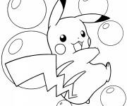 Coloriage Pokémon Pikachu et Les bulles