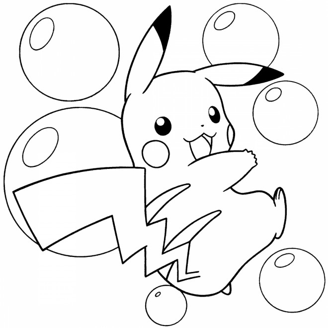 Coloriage et dessins gratuits Pokémon Pikachu et Les bulles à imprimer