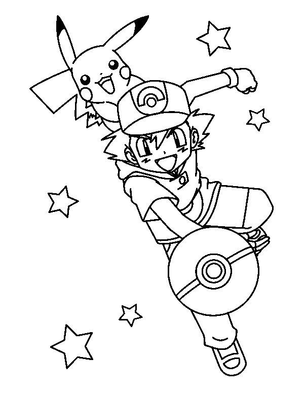 Coloriage et dessins gratuits Pokémon Pikachu et Sacha Affiche à imprimer