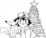 Coloriage Pokémon Pikachu Noel